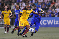 Robbie Russell, Craig Rocastle (blue)...Kansas City Wizards and Real Salt Lake played to a 1-1 tie at Community America Ballpark, Kansas City, Kansas.