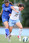 26 August 2012: UNC's Marina Nesic (SRB) (77) and Montreal's Emmanuelle Beliveau-Labrecque (CAN) (15). The University of North Carolina Tar Heels defeated the University of Montreal Caribins 1-0 in overtime at Fetzer Field in Chapel Hill, North Carolina in an international women's collegiate friendly game.