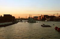 London:  Thameside Walk #24.  Twilight, looking west from Tower Bridge.  Photo '90.