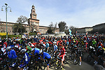 Rider line up for the start of the 108th edition of Milan-San Remo 2017 by NamedSport the first Classic Monument of the season running 291km from Milan to San Remo, Italy. 18th March 2017.<br /> Picture: La Presse/Fabio Ferrari | Cyclefile<br /> <br /> <br /> All photos usage must carry mandatory copyright credit (&copy; Cyclefile | La Presse)