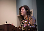 Gabrielle Johnston, the Marketing and Online Media Coordinator for University Communications and Marketing, makes opening remarks at the Marketing Symposium in Schoonover Center on November 4, 2015. Photo by Emily Matthews