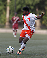 Syracuse University forward Chris Nanco (17) passes the ball. Boston College (maroon) defeated Syracuse University (white/orange), 3-2, at Newton Campus Field, on October 8, 2013.
