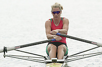 Nottingham, ENGLAND.  <br />  <br />   <br /> Commonwealth Regatta - Nottingham<br /> 20020818<br /> Women's Lightweight single scull<br /> Wales, Kirsten MCCLELLAND-BROOKS  . moving off then start.