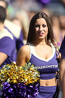 2013-09-21: Washington cheerleader Kendall Evans entertained fans during the game  against Idaho State.  Washington won 56-0 over Idaho State in Seattle, WA.