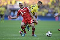 FUSSBALL  CHAMPIONS LEAGUE  SAISON 2012/2013  FINALE  Borussia Dortmund - FC Bayern Muenchen         25.05.2013 Franck Ribery (li, FC Bayern Muenchen) gegen Jakub KUBA Blaszczykowski (re, Borussia Dortmund)