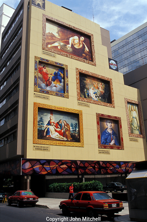 Religious murals on the side of the Central Bank of Ecuador building in downtown Guayaquil, Ecuador