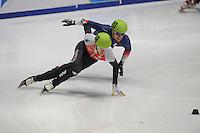 SHORTTRACK: DORDRECHT: Sportboulevard Dordrecht, 24-01-2015, ISU EK Shorttrack Ranking Races, Vincent JEANNE (FRA | #20), Bartosz KONOPKO (POL | #59), ©foto Martin de Jong
