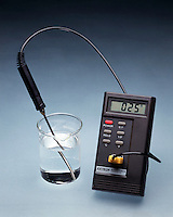 EXOTHERMIC/ENDOTHERMIC REACTIONS<br /> Water at room temperature<br /> Thermometer reads 25 degC.