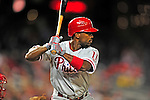 29 September 2010: Philadelphia Phillies' infielder Jimmy Rollins in action against the Washington Nationals at Nationals Park in Washington, DC. The Phillies defeated the Nationals 7-1 to take the rubber game of their 3-game series. Mandatory Credit: Ed Wolfstein Photo