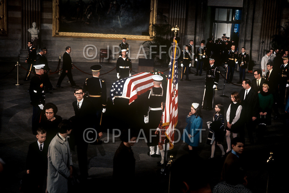 The Capitol Rotunda, Washington D.C. - March 31, 1969. The casket of President Dwight Eisenhower is removed from the procession. He (October 14, 1890 - March 28, 1969) was the 34th President of the United States from 1953 until 1961, was a five-star general in the United States Army during World War II and was the first supreme commander of NATO.