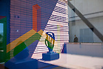 March 6, 2010. Charlotte, North Carolina.. Over the last year, several museums and cultural institutions have opened within a 5 block radius of each other, adding another facet to downtown Charlotte.. The Bechtler Museum of Modern Art opened in January and is home to the private collection of the Bechtler family. A view of the Sol LeWitt drawing that fills the entrance way wall.