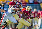 2 November 2013: Boston College Eagles running back Myles Willis (23) is pursued by Virginia Tech Hokies linebacker Tariq Edwards (24) in the third quarter at Alumni Stadium in Chestnut Hill, MA. The Eagles defeated the Hokies 34-27. Mandatory Credit: Ed Wolfstein-USA TODAY Sports *** RAW (NEF) Image File Available ***