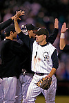 9 September 2006: Jamey Carroll, second baseman for the Colorado Rockies, celebrates a victory against the Washington Nationals. The Rockies defeated the Nationals 11-8 at Coors Field in Denver, Colorado...Mandatory Photo Credit: Ed Wolfstein.