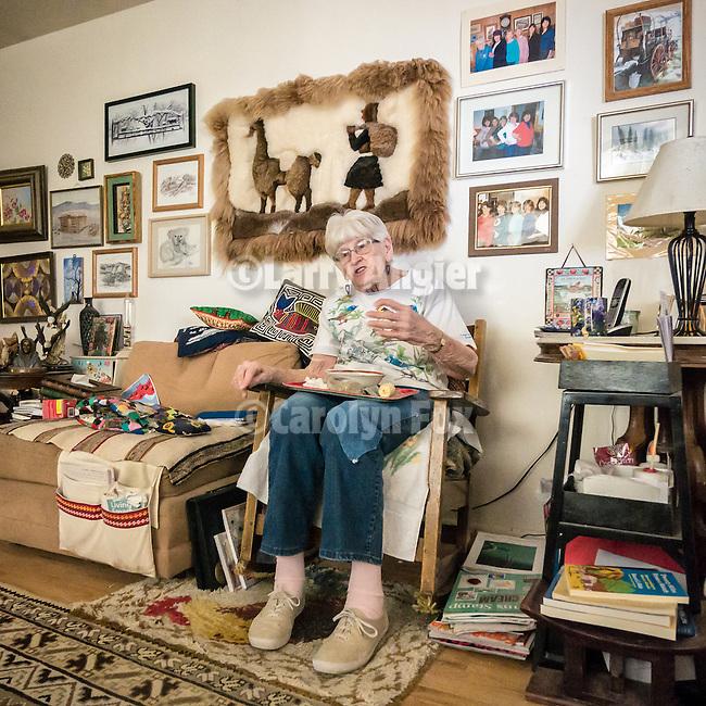 96 year old Lina Sharp at Blue Eagle Ranch, Railroad Valley, Nye County, Calif.