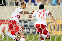 Dane Richards (19) of the New York Red Bulls celebrates scoring with Thierry Henry (14). The New York Red Bulls defeated the San Jose Earthquakes 2-0 during a Major League Soccer (MLS) match at Red Bull Arena in Harrison, NJ, on August 28, 2010.