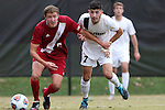 29 November 2015: Indiana's Grant Lillard (5) and Wake Forest's Jon Bakero (ESP) (7). The Wake Forest University Demon Deacons hosted the Indiana University Hoosiers at Spry Stadium in Winston-Salem, North Carolina in a 2015 NCAA Division I Men's Soccer Tournament Third Round match. Wake Forest won the game 1-0.