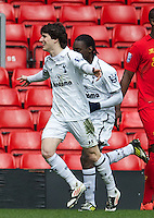 LIVERPOOL, ENGLAND - Easter Monday, April 1, 2013: Tottenham Hotspur's Cristian Ceballos celebrates scoring the second goal against Liverpool during the Under 21 FA Premier League match at Anfield. (Pic by David Rawcliffe/Propaganda)