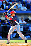 7 March 2010: Washington Nationals' infielder Mike Morse at bat during a Spring Training game against the New York Mets at Tradition Field in Port St. Lucie, Florida. The Mets edged out the Nationals 6-5 in Grapefruit League pre-season play. Mandatory Credit: Ed Wolfstein Photo