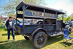 April 28, 2013 - Floral Park, New York, U.S. - This wood, black 1922 REO Speed Wagon Canopy Express Model F, which used to deliver THE NEWS  'New York's Picture Newspaper',' painted on its sides, is at the Antique Auto Show, where New York Antique Auto Club members exhibited their cars on the farmhouse grounds of Queens County Farm Museum.