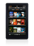 Amazon Kindle Fire tablet computer e-book reader displaying book shelf isolated on white background with clipping path