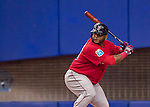 2 April 2016: Boston Red Sox third baseman Pablo Sandoval in action during a pre-season exhibition game against the Toronto Blue Jays at Olympic Stadium in Montreal, Quebec, Canada. The Red Sox defeated the Blue Jays 7-4 in the second of two MLB weekend games, which saw a two-game series attendance of 106,102 at the former home on the Montreal Expos. Mandatory Credit: Ed Wolfstein Photo *** RAW (NEF) Image File Available ***