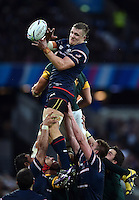 Louis Stanfill of the USA wins the ball at a lineout Rugby World Cup Pool B match between South Africa and the USA on October 7, 2015 at The Stadium, Queen Elizabeth Olympic Park in London, England. Photo by: Patrick Khachfe / Onside Images