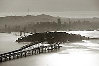 aerial photograph of San Francisco Oakland Bay Bridge toward Yerba Buena island and San Francisco