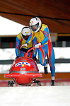 19 November 2005: Mihai Iliescu pilots the Romania 2 sled to a 32nd place finish at the 2005 FIBT AIT World Cup Men's 2-Man Bobsleigh Tour at the Verizon Sports Complex, in Lake Placid, NY. Mandatory Photo Credit: Ed Wolfstein.