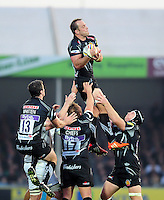 Kai Horstmann of Exeter Chiefs claims the ball in the air. Aviva Premiership match, between Exeter Chiefs and Bath Rugby on October 30, 2016 at Sandy Park in Exeter, England. Photo by: Patrick Khachfe / Onside Images