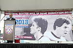 10 October 2013: Hank Steinbrecher emcees the ceremony. The 2013 National Soccer Hall of Fame Induction Ceremony was held on the West Plaza outside Sporting Park in Kansas City, Kansas.