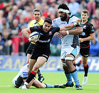 Sean Maitland of Saracens fends Brian Alainu'uese of Glasgow Warriors. European Rugby Champions Cup Quarter Final, between Saracens and Glasgow Warriors on April 2, 2017 at Allianz Park in London, England. Photo by: Patrick Khachfe / JMP