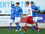 St Johnstone v Stranraer...01.11.15   Little Big Shot Youth Cup 3rd Round, McDiarmid Park, Perth<br /> George Hunter celebrates his second goal<br /> Picture by Graeme Hart.<br /> Copyright Perthshire Picture Agency<br /> Tel: 01738 623350  Mobile: 07990 594431
