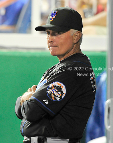 New York Mets manager Terry Collins watches the action in the top of the seventh inning against the Washington Nationals at Nationals Park in Washington, D.C. on Saturday, July 30, 2011.  .Credit: Ron Sachs / CNP.(RESTRICTION: NO New York or New Jersey Newspapers or newspapers within a 75 mile radius of New York City)