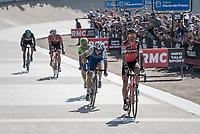 Victory sprint for Greg Van Avermaet (BEL/BMC), beating <br /> <br /> 115th Paris-Roubaix 2017 (1.UWT)<br /> One Day Race: Compi&egrave;gne &rsaquo; Roubaix (257km)