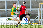 Sean O' Leary Kenmare in action against Daniel Egan Kilfenora in the Munster Intermediate Club Football Championship Semi-Final at Fitzgerald Stadium on Sunday.