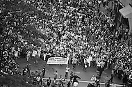 """26 Aug 1970 --- Feminists march in New York City on August 26, 1970 on the 50th anniversary of the passing of the Nineteenth Amendment which granted American women full suffrage. The National Organization for Women (NOW) called upon women nationwide to """"strike for equality"""" on that day. --- Image by © JP Laffont"""