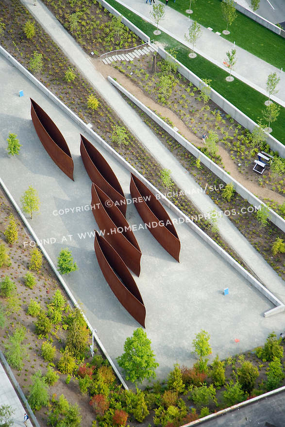 Aerial view looking down at Richard Serra's 'Wake' in Seattle's Olympic Sculpture Park.