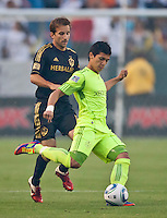 CARSON, CA – July 4, 2011: LA Galaxy defender Todd Dunivant (2) and Seattle Sounders forward Fredy Montero (17) during the match between LA Galaxy and Seattle Sounders FC at the Home Depot Center in Carson, California. Final score LA Galaxy 0, Seattle Sounders FC 0.