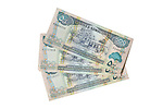 500 Somaliland Shilling notes cut-out on a white background