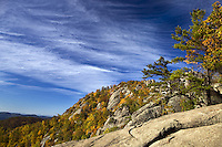 Exposed granite summit of Old Rag Mountain with deep blue sky, in Madison County, VA. Photo/ Andrew Shurtleff