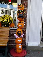 Pile of pumkin heads, Damariscotta Maine, USA