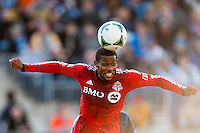 Jeremy Hall (25) of Toronto FC heads the ball. Toronto FC and the Philadelphia Union played to a 1-1 tie during a Major League Soccer (MLS) match at PPL Park in Chester, PA, on April13, 2013.