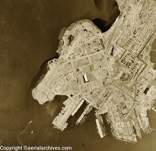 Aerial photograph Hunters Point Naval Shipyard San Francisco California 1946