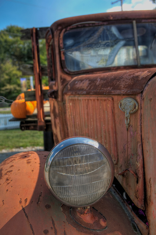 Scarecrow and Pumpkins in old truck at Grandmas Gardens in Springboro Ohio