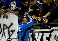 Chris Wondolowski of Earthquakes celebrates with the fans after defeating Red Bulls at Buck Shaw Stadium in Santa Clara, California.  San Jose Earthquakes defeated New York Red Bulls, 4-0.