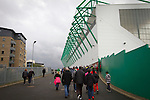 Hibernian 3 Alloa Athletic 0, 12/09/2015. Easter Road stadium, Scottish Championship. Fans making their way towards the East Stand at Easter Road stadium before the Scottish Championship match between Hibernian and visitors Alloa Athletic. The home team won the game by 3-0, watched by a crowd of 7,774. It was the Edinburgh club's second season in the second tier of Scottish football following their relegation from the Premiership in 2013-14. Photo by Colin McPherson.