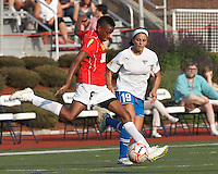 Western New York forward Omolyn Davis (8) takes a shot as Boston Breakers defender Bianca D'Agostino (19) closes. In a Women's Premier Soccer League Elite (WPSL) match, the Boston Breakers defeated Western New York Flash, 3-2, at Dilboy Stadium on May 26, 2012.