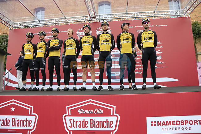 Team Lotto NL-Jumbo at sign on before the start of the 2017 Strade Bianche running 175km from Siena to Siena, Tuscany, Italy 4th March 2017.<br /> Picture: Eoin Clarke | Newsfile<br /> <br /> <br /> All photos usage must carry mandatory copyright credit (&copy; Newsfile | Eoin Clarke)