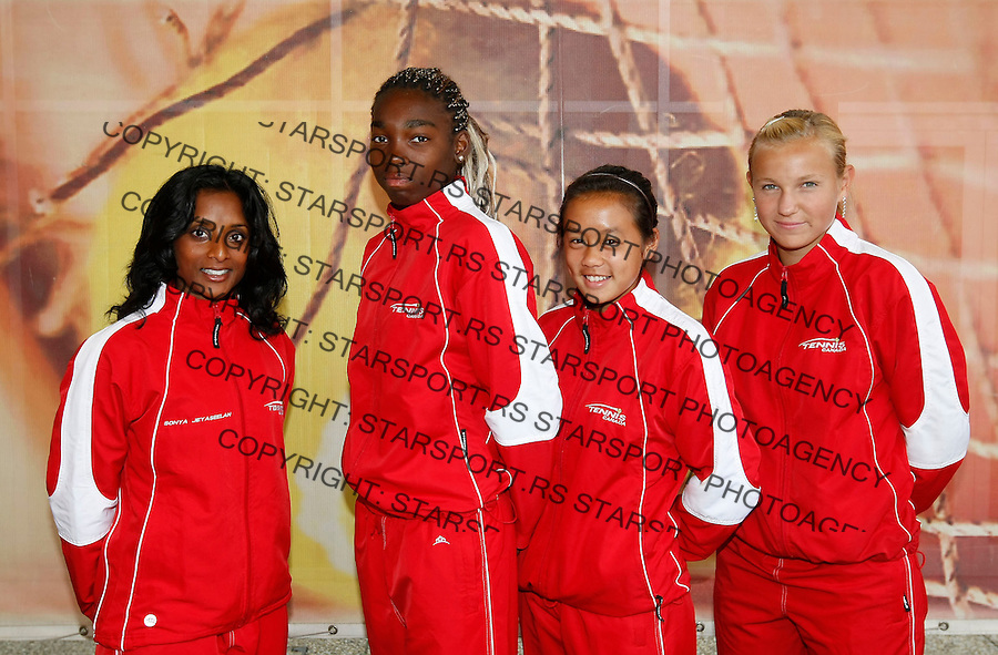 Tenis, World Championship U-14.Official team photo.Canada girls  team.from left, Sonya Jeyaseelan, Francoise Abanda, Gloria Liang and Iana Nikolaeva.Prostejov, 03.08.2010..foto: Srdjan Stevanovic/Starsportphoto ©