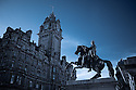 The Balmoral Hotel with a statue of the Duke of Wellington in the foreground.